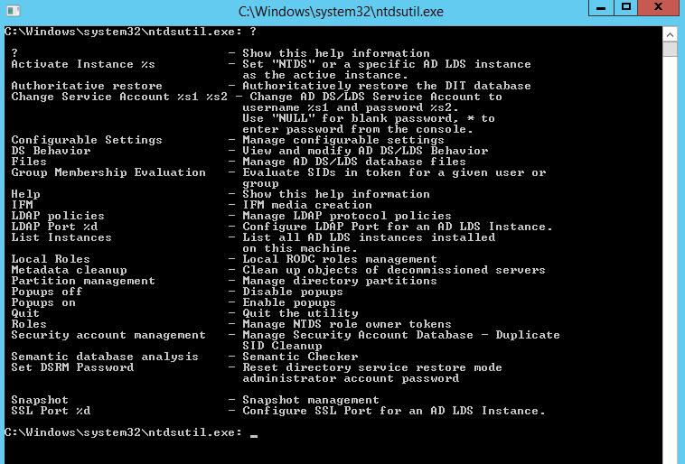 Using NTDSUTIL Metada Cleanup to Remove a Failed/Offline