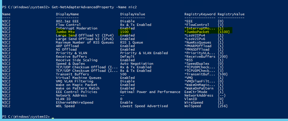 Enabling Jumbo Frames on Windows Server 2012 R2 using PowerShell ...