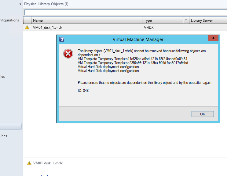 Removing a temporary template from system center virtual machine since i couldnt remove the temporary template from the graphical user interface i resorted to powershell to accomplish this with the get scvmtemplate maxwellsz