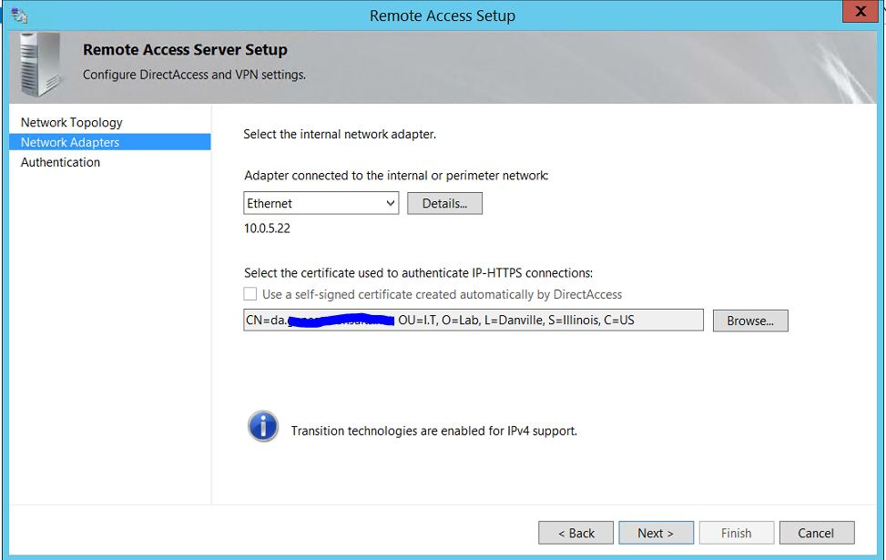My Step-by-Step DirectAccess Configuration on Windows Server 2012 R2
